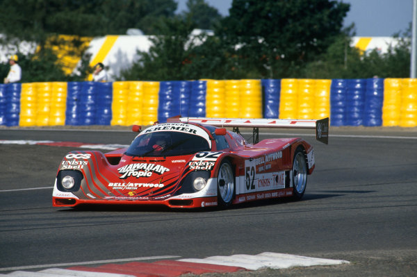 1992 Le Mans 24 Hours. Le Mans, France. 20th - 21st June 1992. Robin Donovan/Charles Rickett/Almo Coppelli (Porsche 962CK6), 11th position, action.  World Copyright: LAT Photographic. Ref:  92LM15