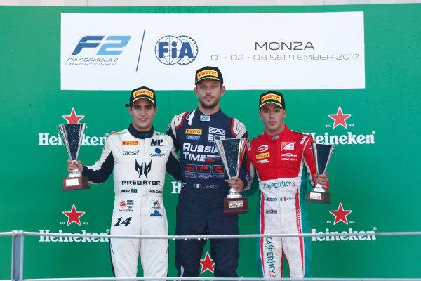 2017 FIA Formula 2 Round 9. Autodromo Nazionale di Monza, Monza, Italy. Sunday 3 September 2017. Sergio Sette Camara (BRA, MP Motorsport), Luca Ghiotto (ITA, RUSSIAN TIME), Antonio Fuoco (ITA, PREMA Racing).  Photo: Sam Bloxham/FIA Formula 2. ref: Digital Image _W6I4979