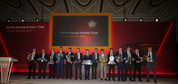 2015 British Racing Drivers Club Awards Grand Connaught Rooms, London Monday 7th December 2015 The winners on stage. World Copyright: Jakob Ebrey/LAT Photographic ref: Digital Image 2015Winners2