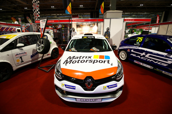 Autosport International Exhibition. National Exhibition Centre, Birmingham, UK. Sunday 14th January, 2018. MG and Renault Clio cars on display.World Copyright: Mike Hoyer/JEP/LAT Images Ref: AQ2Y9421