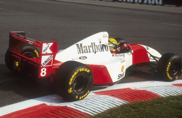 1993 Belgian Grand Prix.Spa-Francorchamps, Belgium.27-29 August 1993.Ayrton Senna (McLaren MP4/8 Ford) 4th position.Ref-93 BEL 04.World Copyright - LAT Photographic