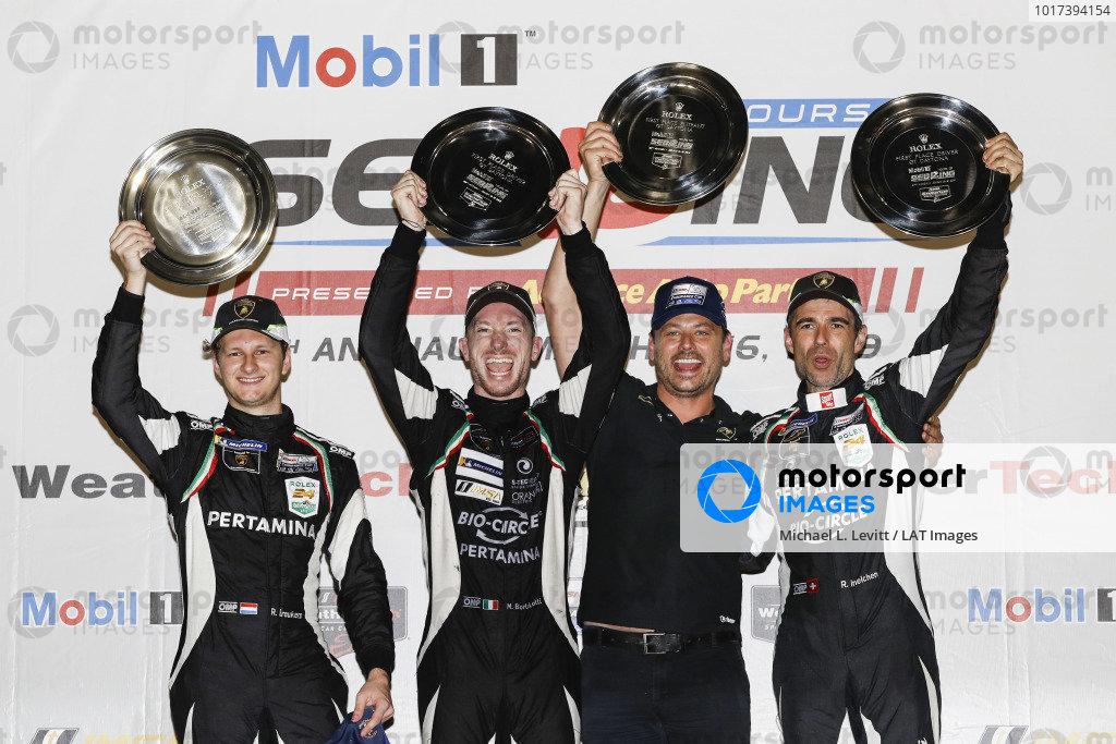 #11 GRT Grasser Racing Team Lamborghini Huracan GT3, GTD: Mirko Bortolotti, Rik Breukers, Rolf Ineichen, podium