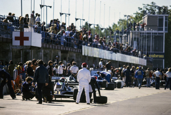 A view down the pit lane.