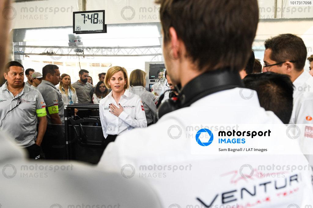 Susie Wolff, Team Principal, Venturi Formula E, talks to her team