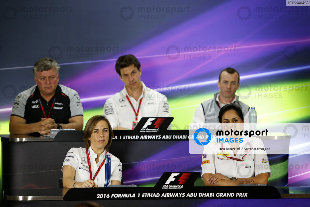 (L to R): Otmar Szafnauer (USA) Force India Formula One Team Chief Operating Officer, Toto Wolff (AUT) Mercedes AMG F1 Director of Motorsport, Stephen Fitzpatrick (GBR) Manor Racing Team Owner, Claire Williams (GBR) Williams Deputy Team Principal and Monisha Kaltenborn (AUT) Sauber Team Prinicpal in the Press Conference at Formula One World Championship, Rd21, Abu Dhabi Grand Prix, Practice, Yas Marina Circuit, Abu Dhabi, UAE, Friday 25 November 2016.