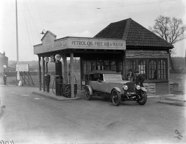 Sunbeam 3 litre at petrol station.