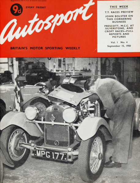 Cover of Autosport magazine, 15th September 1950. Main Picture: Peter Clark's 1-1/2 litre H.R.G. being prepared at Tolworth for the R.A.C. Tourist Trophy at Dundrod, Belfast.