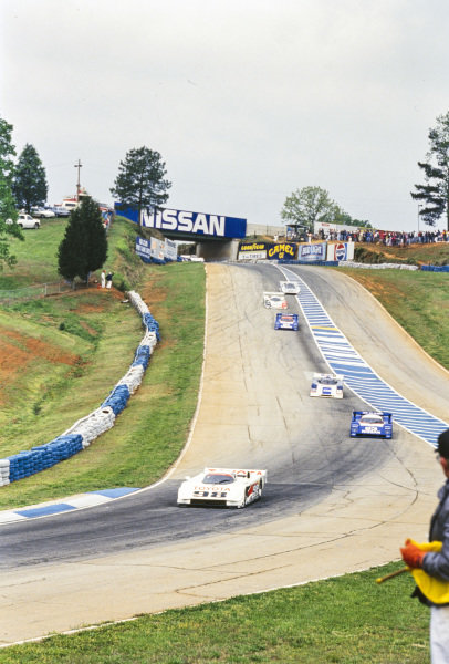 P. J. Jones, All American Racers, Eagle Mk III Toyota, leads Geoff Brabham, Nissan NPT-91 A, and Tom Kendall, MTI, Intrepid RM-1 Chevrolet.