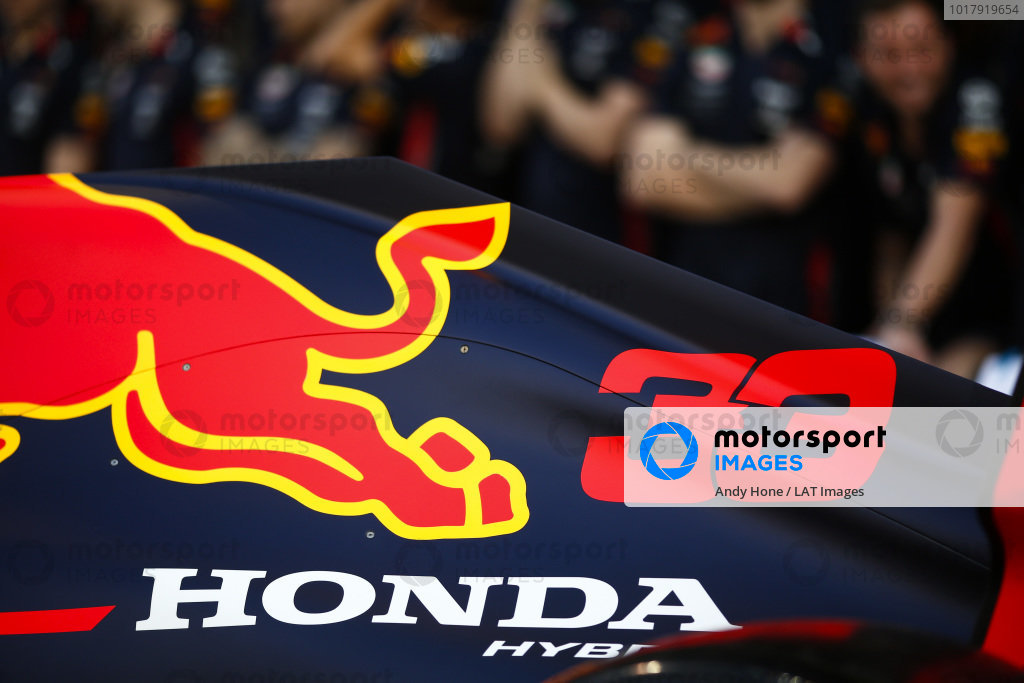 A Honda logo on the engine cover of the Max Verstappen Red Bull Racing RB15