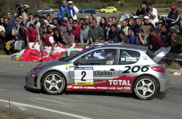 2002 World Rally ChampionshipRally Catalunya, 21st-24th March 2002.Marcus Gronholm on the last stage of the event, Stage 18.Photo: Ralph Hardwick/LAT