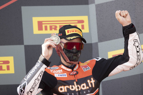 Chaz Davies, ARUBA.IT Racing Ducati with championship medal.
