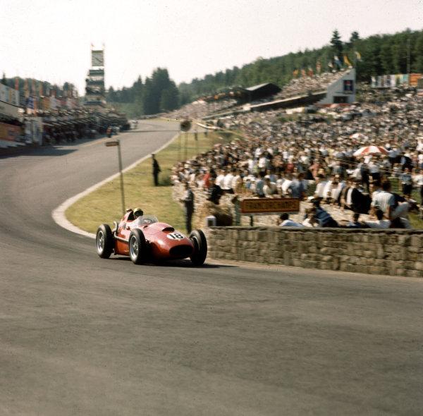 1958 Belgian Grand Prix.Spa-Francorchamps, Belgium.13-15 June 1958.Luigi Musso (Ferrari Dino 246) at Eau Rouge.Ref-3/0044.World Copyright - LAT Photographic