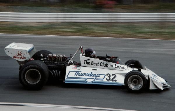 Bob Evans, Brabham BT44B Ford, during practice.