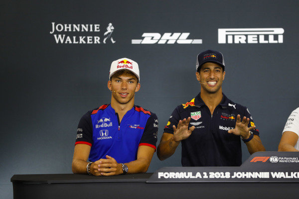 Pierre Gasly, Toro Rosso, and Daniel Ricciardo, Red Bull Racing, joke in the Thursday press conference.