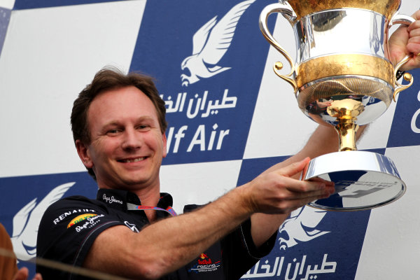 Bahrain International Circuit, Sakhir, Bahrain22nd April 2012Christian Horner, Team Principal, Red Bull Racing, with the constructors trophy.World Copyright: Andy Hone/LAT Photographicref: Digital Image HONY8671
