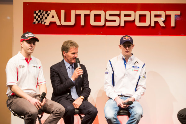 Autosport International Exhibition. National Exhibition Centre, Birmingham, UK. Thursday 8 January 2015. Malcolm Wilson, Elfyn Evans and Sander Pam on the Autosport stage. World Copyright: Malcolm Griffiths/LAT Photographic. ref: Digital Image A50A0446