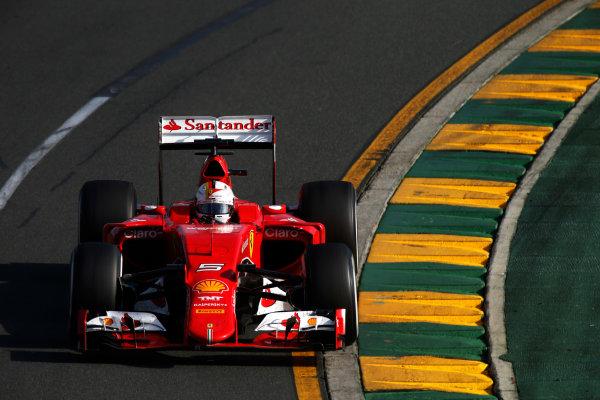 Albert Park, Melbourne, Australia. Sunday 15 March 2015. Sebastian Vettel, Ferrari SF-15T. World Copyright: Glenn Dunbar/LAT Photographic. ref: Digital Image _W2Q4467