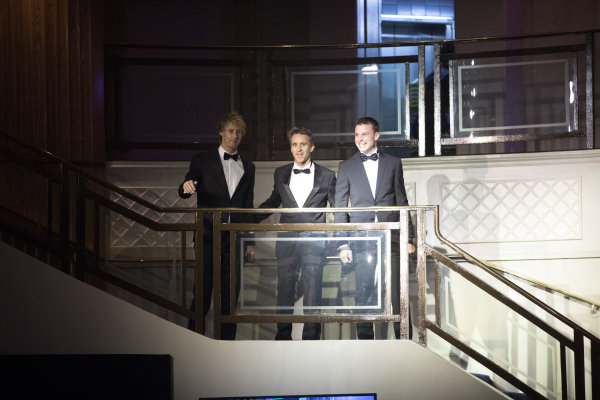 2017 Autosport Awards Grosvenor House Hotel, Park Lane, London. Sunday 3 December 2017. WEC Champions Brendon Hartley, Timo Bernhard and Earl Bamber arrive. World Copyright: Zak Mauger/LAT Images  ref: Digital Image _O3I6511