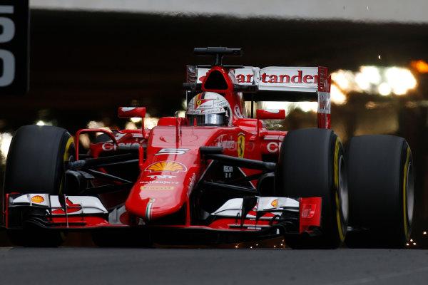 Monte Carlo, Monaco. Thursday 21 May 2015. Sebastian Vettel, Ferrari SF15-T. World Copyright: Glenn Dunbar/LAT Photographic. ref: Digital Image _W2Q6335