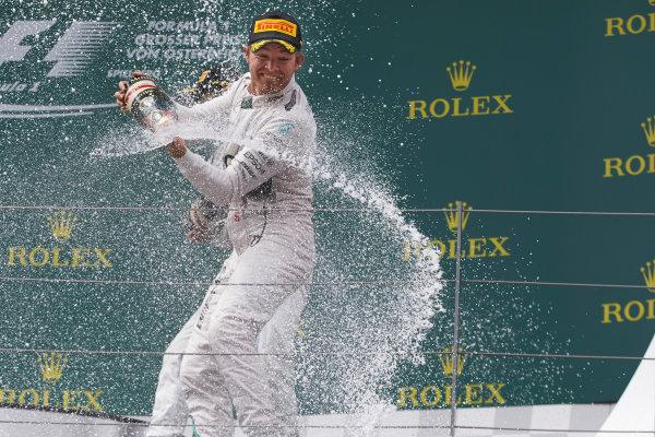 Red Bull Ring, Spielberg, Austria. Sunday 21 June 2015. Nico Rosberg, Mercedes AMG, 1st Position, sprays the victory Champagne. World Copyright: Steve Etherington/LAT Photographic. ref: Digital Image SNE24796