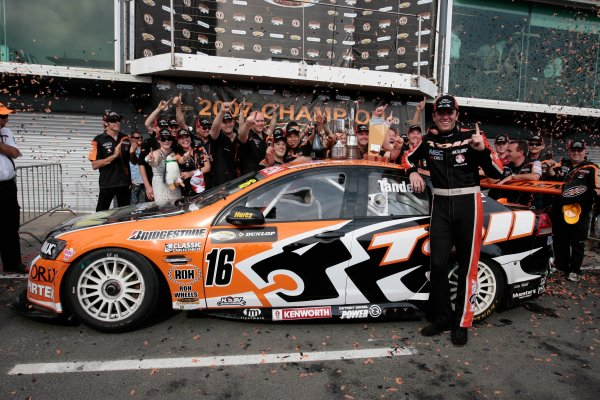 The Toll HSV Dealer Team V8 Supercar of Garth Tander wins the Dunlop Grand Finale at the Phillip Island Grand Prix Circuit, Phillip Island, Victoria and wins the 2007 Australian V8 Supercar Championship Series. December 2, 2007.