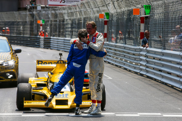 Monte Carlo, Monaco. Friday 26 May 2017. Alain Prost, Renault RE40, and Jean-Pierre Jabouille, Renault RS01 World Copyright: Charles Coates/LAT Images ref: Digital Image DJ5R7655