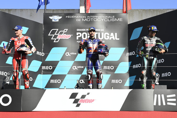 Podium: race winner , Miguel Oliveira, Red Bull KTM Tech 3, second place Jack Miller, Pramac Racing, third place Franco Morbidelli, Petronas Yamaha SRT.