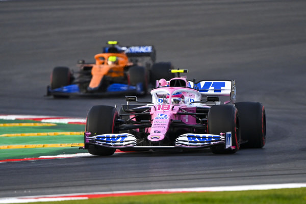 Lance Stroll, Racing Point RP20, leads Lando Norris, McLaren MCL35