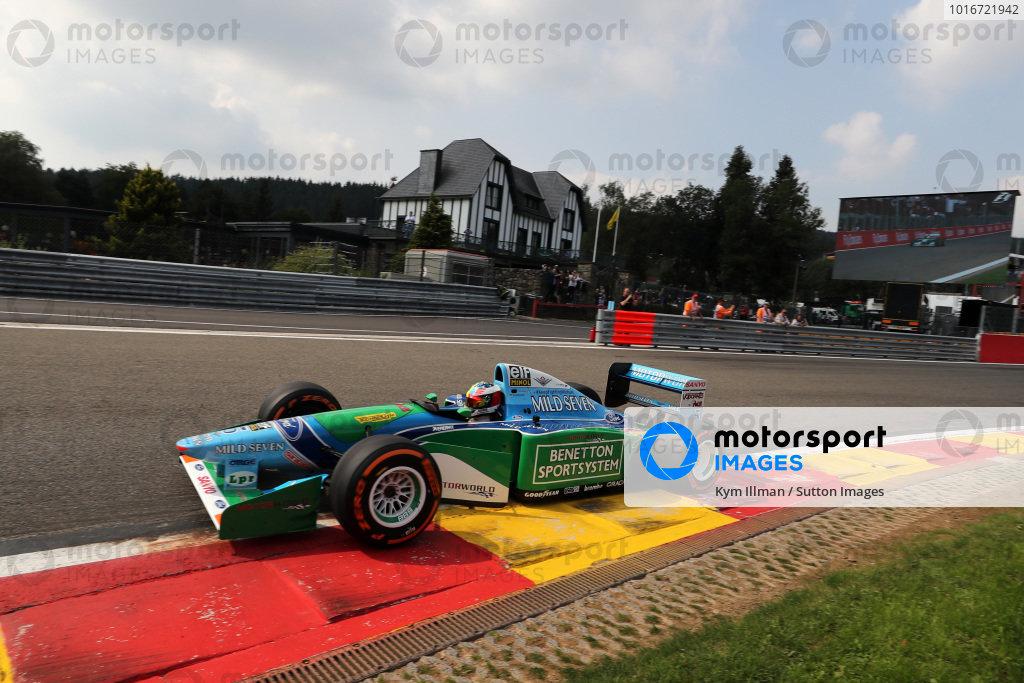 Mick Schumacher (GER) Benetton B194 at Formula One World Championship, Rd12, Belgian Grand Prix, Race, Spa Francorchamps, Belgium, Sunday 27 August 2017.