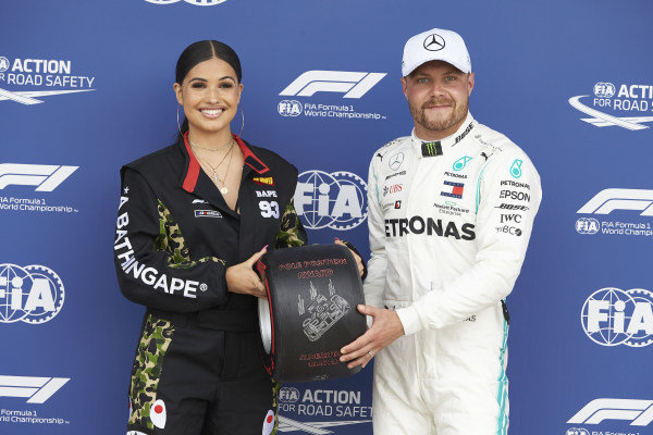 Singer-Songwriter Mabel presents Valtteri Bottas, Mercedes AMG F1, with the Pirelli Pole Position Award
