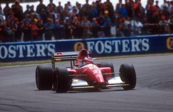 1993 British Grand Prix.Silverstone, England.9-11 July 1993.Jean Alesi (Ferrari F93A) 9th position.Ref-93 GB 02.World Copyright - LAT Photographic