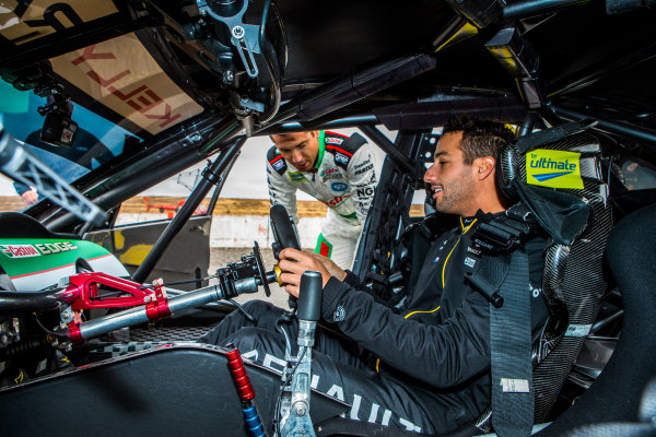 Daniel Ricciardo tests Kelly Racing Nissan Supercar at Calder, and talks to Rick Kelly