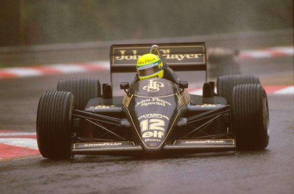 Spa-Francorchamps, Belgium.13-15 September 1985.Ayrton Senna (Lotus 97T Renault) 1st position.Ref-85 BEL 10.World Copyright - LAT Photographic