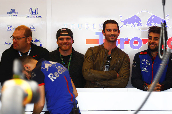 Connor Daly and Alexander Rossi in the Toro Rosso garage.