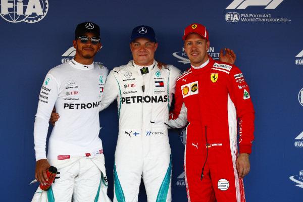 Valtteri Bottas, Mercedes AMG F1, secures pole position, with Lewis Hamilton, Mercedes AMG F1, in 2nd and Sebastian Vettel, Ferrari, in 3rd