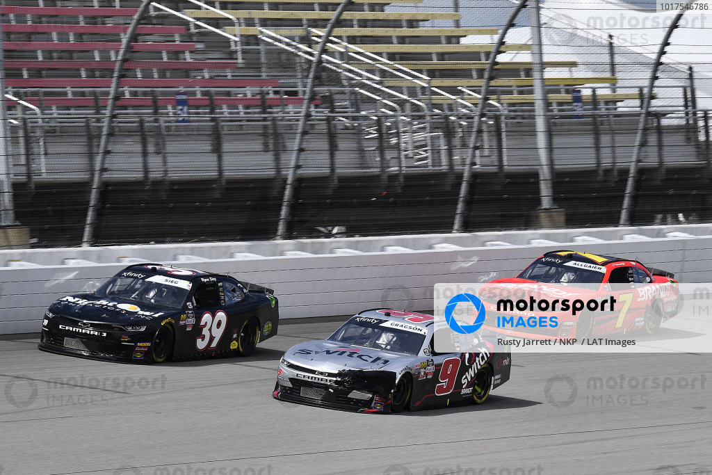 #9: Noah Gragson, JR Motorsports, Chevrolet Camaro Switch, #39: Ryan Sieg, RSS Racing, Chevrolet Camaro Night Owl Contractors, and #7: Justin Allgaier, JR Motorsports, Chevrolet Camaro BRANDT Professional Agriculture