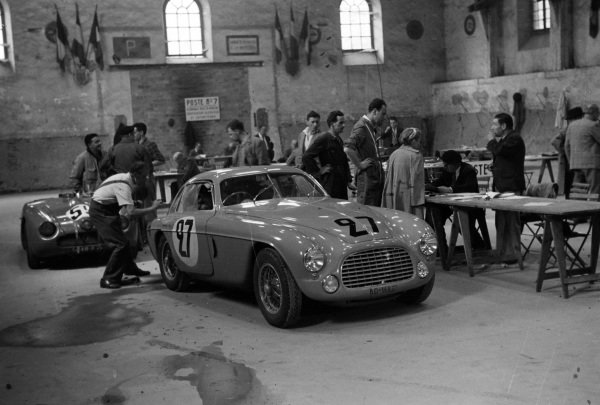 Yvonne Simon / Michel Kasse's Luigi Chinetti, Ferrari 166 MM Coupe, line up during scrutineering.