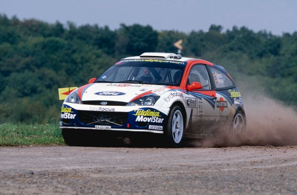 2002 World Rally Championship.ADAC Rallye Deutschland, Trier, Germany. August 22nd - 25th 2002.Carlos Sainz/Louis Moya (Ford Focus WRC 02), action.Photo: McKlein/LAT Photographicref: 35mm Image A02