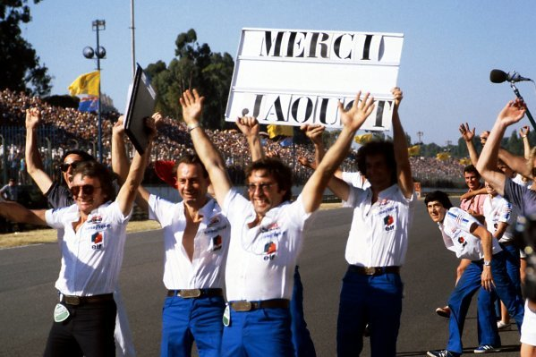 The Ligier team celebrate on the circuit as Jacques Laffite (FRA) Ligier wins the race.   Argentinean Grand Prix, Rd 1, Buenos Aires, Argentina, 21 January 1979. BEST IMAGE