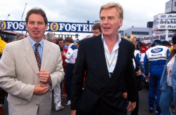 L-R: Labour party leader and Shadow Prime Minister Tony Blair (GBR) with FIA President Max Mosley (GBR). British Grand Prix, Silverstone, England, 14 July 1996. BEST IMAGE.