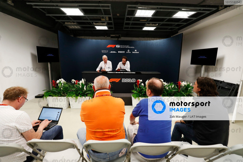 Charlie Whiting, Race Director, FIA, and Matteo Bonciani (ITA) FIA Media Delegate, brief reporters, including Adam Cooper during a press conference.
