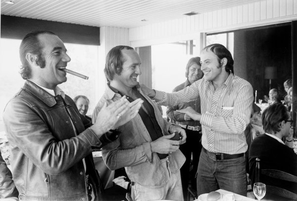 Zolder, Belgium.18-20 May 1973.Bernard Cahier and Mike Hailwood at the IRPA awards lunch. Portrait.World Copyright - LAT Photographicref: L73/796/19
