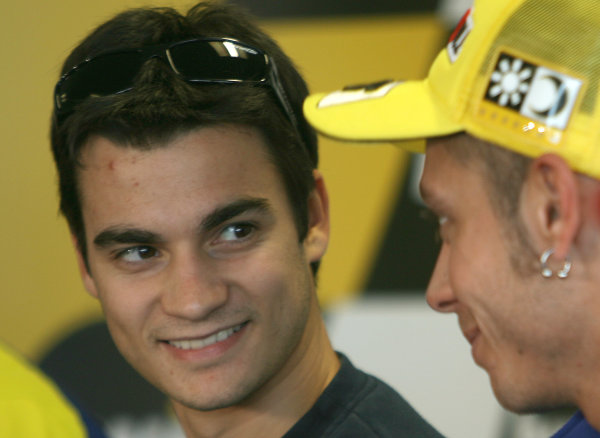 Donington Park, England. 18th June 2008.Preview Day.Dani Pedrosa Repsol Honda shares a joke with Valentino Rossi during the pre event press conference.World Copyright: Martin Heath/ LAT Photographicref: Digital Image