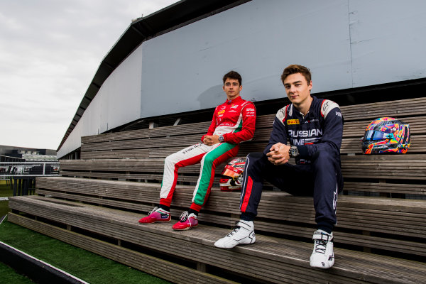 2017 FIA Formula 2 Round 6. Silverstone, Northamptonshire, UK. Thursday 13 July 2017. Charles Leclerc (MCO, PREMA Racing) and Antonio Fuoco (ITA, PREMA Racing).  Photo: Zak Mauger/FIA Formula 2. ref: Digital Image _56I6289