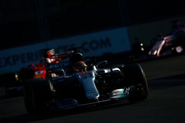 Baku City Circuit, Baku, Azerbaijan. Sunday 25 June 2017. Lewis Hamilton, Mercedes F1 W08 EQ Power+, leads Sebastian Vettel, Ferrari SF70H. World Copyright: Andrew Hone/LAT Images ref: Digital Image _ONY8530