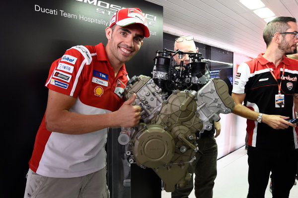 2017 MotoGP Championship - Round 13 Misano, Italy. Thursday 7 September 2017 Michele Pirro, Ducati Team, Ducati V4 road engine launch World Copyright: Gold and Goose / LAT Images ref: Digital Image 7129
