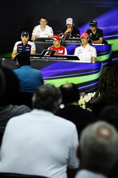Press Conference (L to R): Paul di Resta (GBR) Force India F1, Jean-Eric Vergne (FRA) Scuderia Toro Rosso, Charles Pic (FRA) Caterham F1 Team, Pastor Maldonado (VEN) Williams, Felipe Massa (BRA) Ferrari and Jenson Button (GBR) McLaren.Formula One World Championship, Rd4, Bahrain Grand Prix Preparations, Bahrain International Circuit, Sakhir, Bahrain, Thursday 18 April 2013.