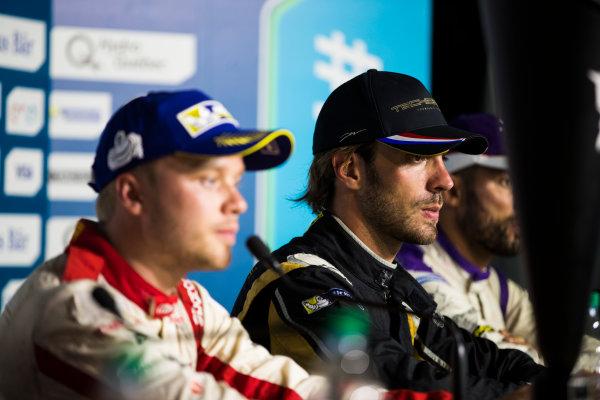 2016/2017 FIA Formula E Championship. Round 12 - Montreal ePrix, Canada Sunday 30 July 2017. Felix Rosenqvist (SWE), Mahindra Racing, Spark-Mahindra, Mahindra M3ELECTRO, Jean-Eric Vergne (FRA), Techeetah, Spark-Renault, Renault Z.E 16, and Jose Maria Lopez (ARG), DS Virgin Racing, Spark-Citroen, Virgin DSV-02, in the press conference. Photo: Sam Bloxham/LAT/Formula E ref: Digital Image _J6I7205