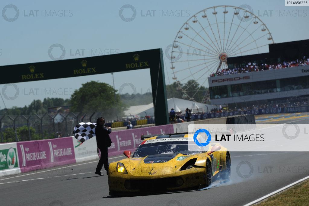 2017 Le Mans 24 Hours Circuit de la Sarthe, Le Mans, France. Sunday 18th  June 2017 #63 Corvette Racing-GM Chevrolet Corvette C7.R: Jan Magnussen, Antonio Garcia, Jordan Taylor  World Copyright: JEP/LAT Images