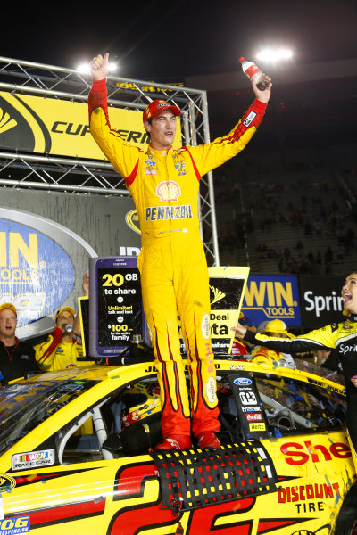 22-23 August, 2014, Bristol, Tennessee USA Joey Logano in victory lane ?2014, Lesley Ann Miller LAT Photo USA